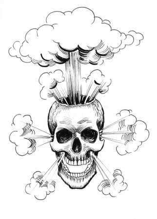 Exploding human skull. Ink black and white drawing Zdjęcie Seryjne - 137592463