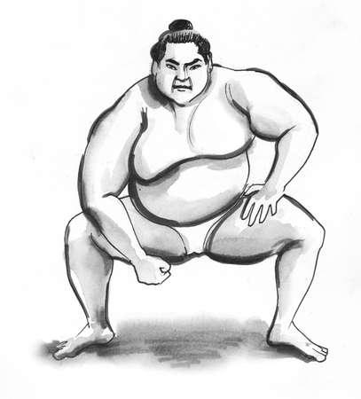 Sumo wrestler. Ink black and white drawing Zdjęcie Seryjne - 137592467