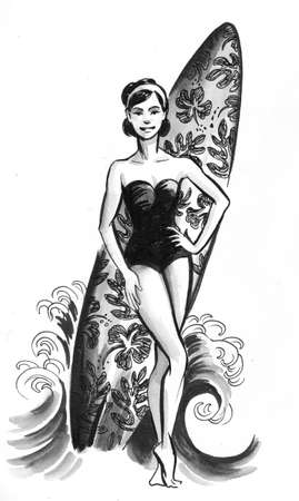 Pretty girl with a surfing board. Ink black and white drawing Zdjęcie Seryjne - 137592469