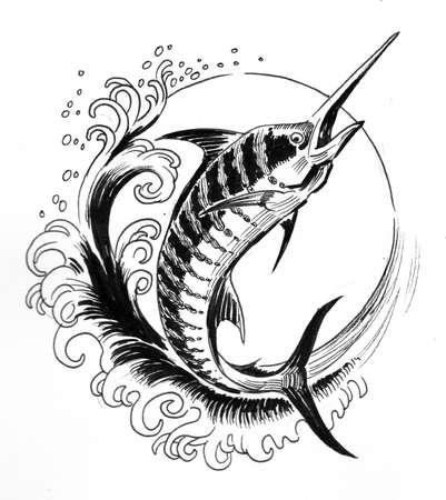 Sword fish in the sea. Ink black and white drawing Zdjęcie Seryjne