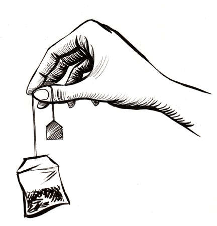 Hand holding a tea bag. Ink black and white drawing