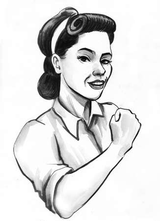 Pretty pinup styled woman flexing biceps. Ink black and white drawing