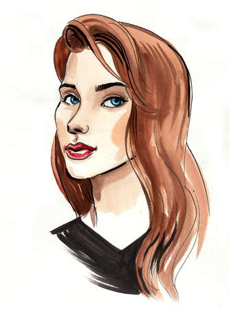 Beautiful woman with a long hair. Ink and watercolor illustration Zdjęcie Seryjne - 137592564