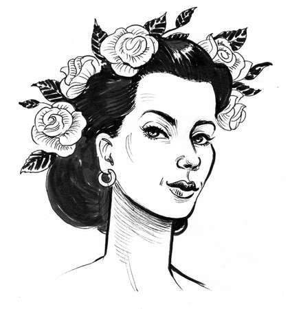 Pretty woman with a flower wreath. Ink black and white drawing