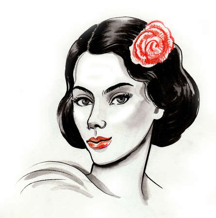 Pretty woman with a rose flower. Ink and watercolor drawing Zdjęcie Seryjne - 137592566
