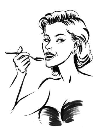 Pretty woman eating a cereal with a spoon. Ink black and white drawing Zdjęcie Seryjne - 137592568