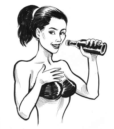 Pretty woman in swimming suit with a beer bottle. Ink black and white drawing Zdjęcie Seryjne - 137592570