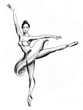 Dabcing ballerina. Ink black and white drawing Zdjęcie Seryjne