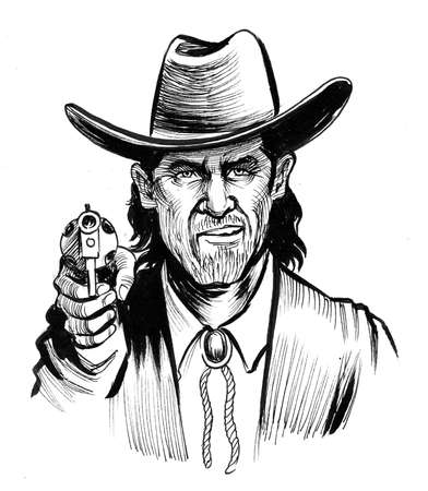 Cowboy aiming revolver gun at viewer. Ink black and white drawing Banque d'images - 137592572