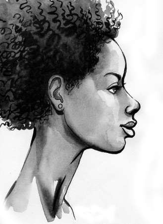 Black African American woman. Ink and watercolor drawing Zdjęcie Seryjne - 137592574