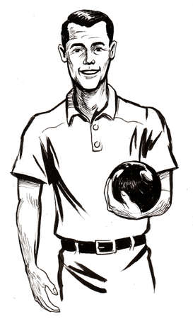 Gentleman with a bowling ball. Ink black and white drawing Zdjęcie Seryjne - 137592575