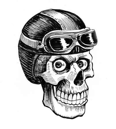 Human skull in aviation, helmet. Ink black and white drawing Zdjęcie Seryjne - 137592577