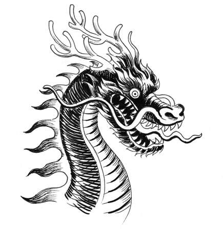 Chinesischer Drache. Schwarzweißzeichnung mit Tinte Standard-Bild