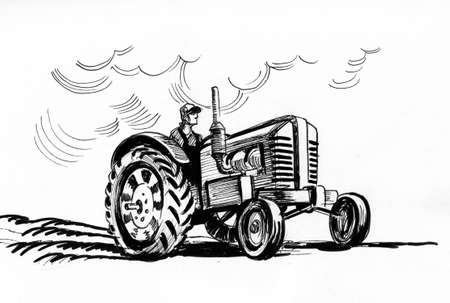 Farmer driving a tractor. Ink black and white drawing