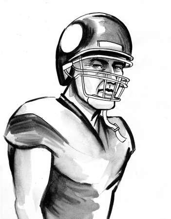 American football player. Ink black and white drawing Zdjęcie Seryjne - 137592580