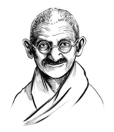 Mahatma Gandhi. Ink black and white drawing Zdjęcie Seryjne