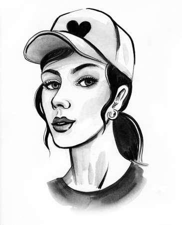 Pretty girl in cap. Ink and watercolor drawing Zdjęcie Seryjne