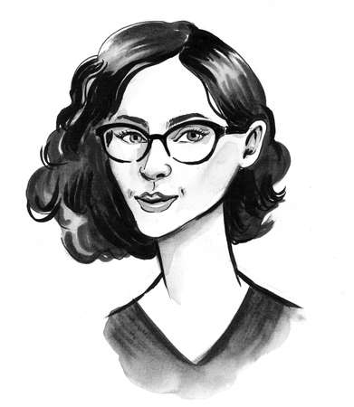 Pretty woman in glasses. Ink and watercolor illustration, drawing, sketch, ink, watercolor Zdjęcie Seryjne - 137592661