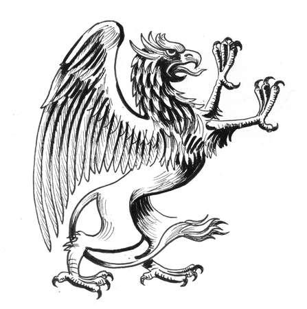 Griffon creature. Ink black and white drawing Zdjęcie Seryjne - 137592662