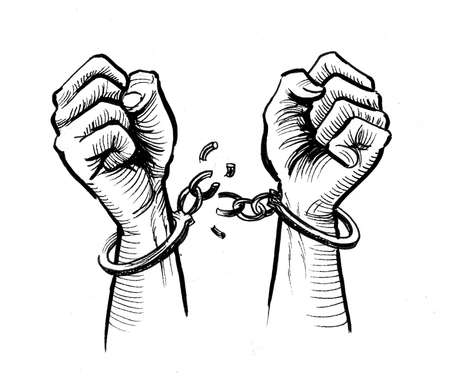 Hand breaking handcuffs. Ink black and white drawing Imagens