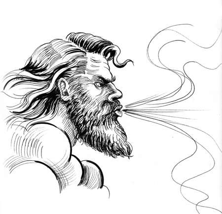 God of wind. Ink black and white drawing Фото со стока - 138186155