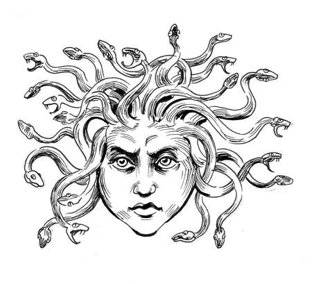 Meduza head. Ink black and white drawing