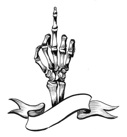 Skeleton hand showing a middle finger. Ink black and white drawing Zdjęcie Seryjne - 137766296