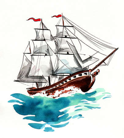 Big sailing ship in the stormy sea. Ink and watercolor painting Zdjęcie Seryjne - 137766617
