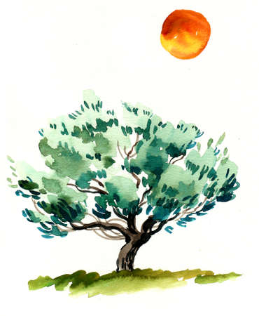 Big green tree and orange sun. Watercolor painting Zdjęcie Seryjne