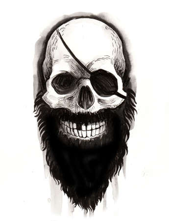 Bearded pirate skull with an eye patch. Ink black and white illustration Zdjęcie Seryjne - 137766316