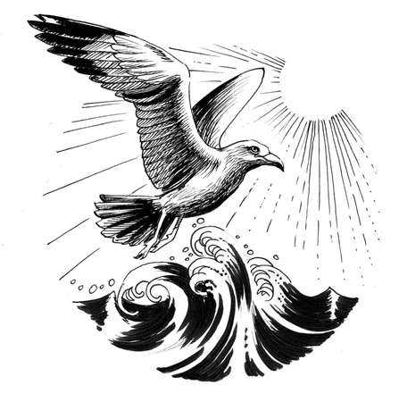 Flying seagull and sea waves. Ink black and white drawing Zdjęcie Seryjne - 137766301