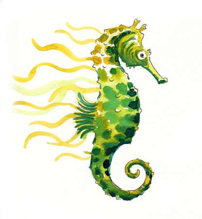 Green seahorse on white background. Watercolor painting Zdjęcie Seryjne - 137766600