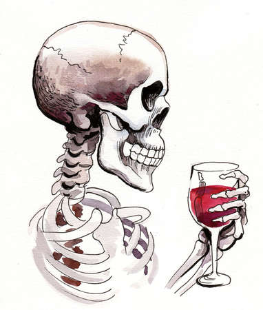 Human skeleton with a glass of red wine. Ink and watercolor painting Banque d'images - 137766285