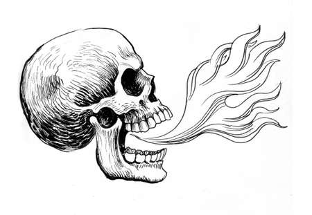 Human skull with a fire. Ink black and white drawing Zdjęcie Seryjne - 137766353
