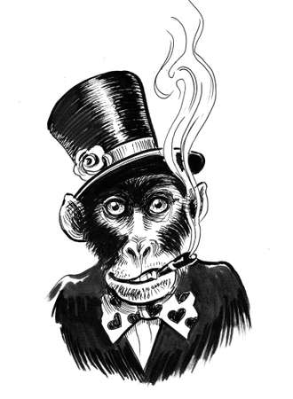 Smoking monkey in tall hat and tie