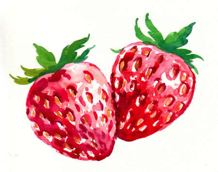 Watercolor strawberries.