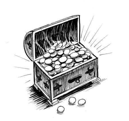 Chest full of golden coins. Ink black and white drawing