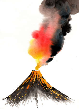 Erupting volcano. Ink and watercolor illustration Zdjęcie Seryjne - 137767552