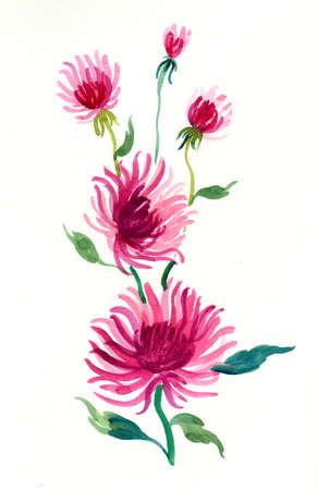 Beautiful purple flowers watercolor painting Zdjęcie Seryjne - 137767208