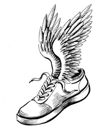 Winged sport shoe. Ink black and white drawing Zdjęcie Seryjne - 137766112