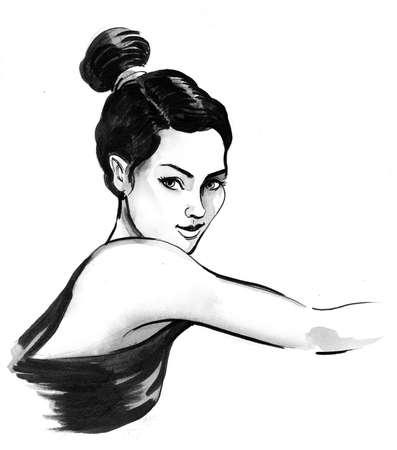 Pretty woman sketch Фото со стока