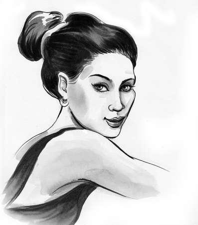 Beautiful woman ink and watercolor drawing