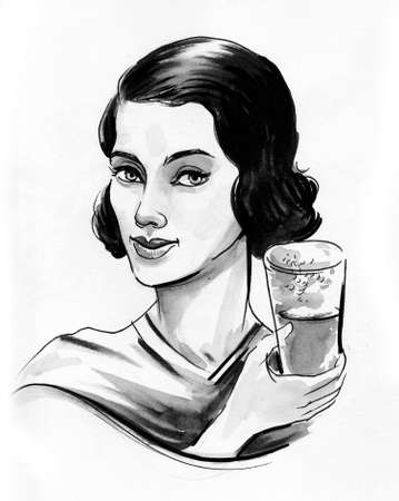 Pretty woman with a glass of beverage. Ink and watercolor drawing