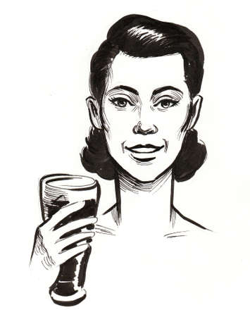 Happy lady with a glass of beer