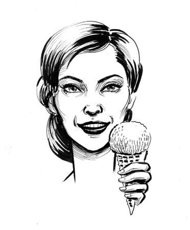 Pretty smiling woman eating an ice cream. Ink black and white drawing Фото со стока