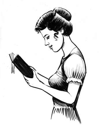 Pretty woman reading a book. Ink black and white drawing