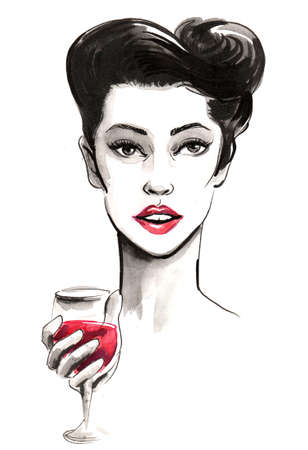Pretty lady with a glass of red wine. Ink and watercolor illustration