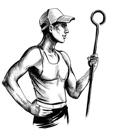 Steel worker. Ink black and white drawing