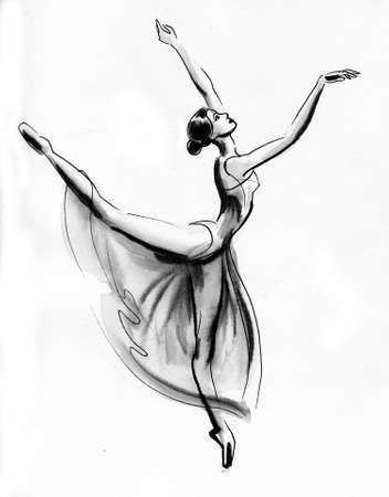 Dancing ballerina. Ink and watercolor illustration