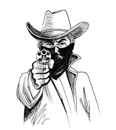 bandit pointing gun to the viewer. Ink black and white drawing